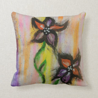 Bright, colorful flowered throw pillow