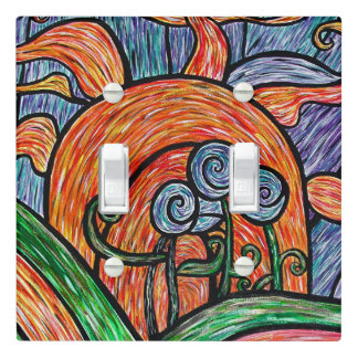 Bright Colorful Flowersl Light Switch Cover