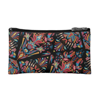 Bright colorful geometric floral tradition pattern makeup bags