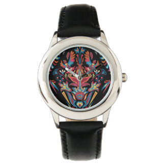 Bright colorful geometric floral tradition pattern wristwatches
