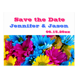 Bright Colorful Gerber Daisy Bouquet Save the Date Postcard