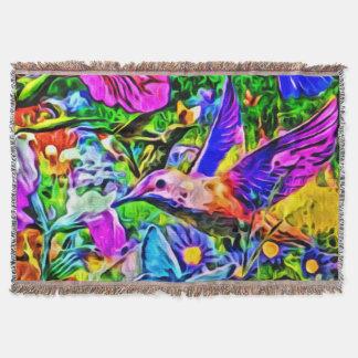Bright Colorful Humming Bird Floral Flower Garden Throw Blanket