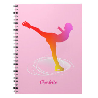 Bright Colorful Ice Skating Skater Silhouette Note Books