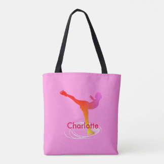 Bright Colorful Ice Skating Skater Silhouette Tote Bag
