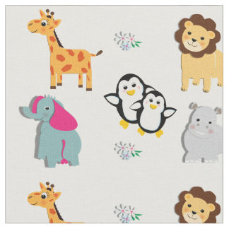 Bright Colorful Kids Cute Whimsy Zoo Animals Print Fabric