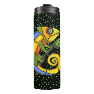 Bright Colorful Lizard Holding Branch Polka Dots Thermal Tumbler