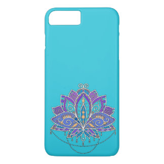 Bright Colorful Lotus flower on blue teal iPhone 8 Plus/7 Plus Case
