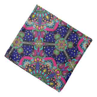 Bright colorful mandala pattern on dark blue bandana