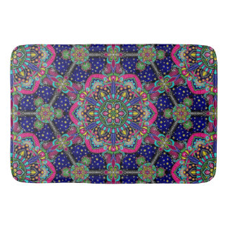 Bright colorful mandala pattern on dark blue bath mat