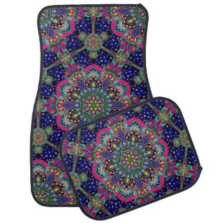 Bright colorful mandala pattern on dark blue car mat