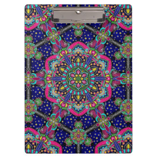 Bright colorful mandala pattern on dark blue. clipboard