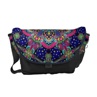 Bright colorful mandala pattern on dark blue. commuter bag