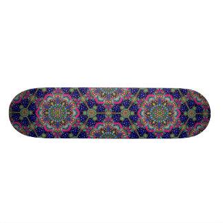 Bright colorful mandala pattern on dark blue. custom skateboard