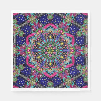 Bright colorful mandala pattern on dark blue disposable napkins