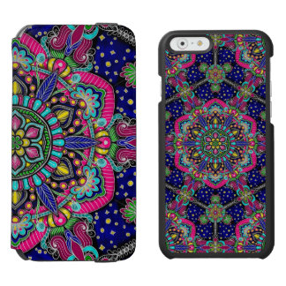 Bright colorful mandala pattern on dark blue incipio watson™ iPhone 6 wallet case