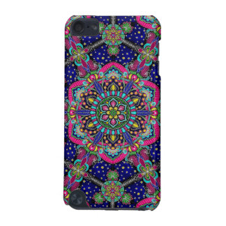 Bright colorful mandala pattern on dark blue iPod touch 5G case