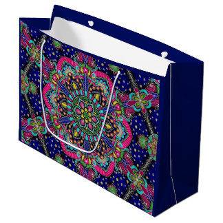 Bright colorful mandala pattern on dark blue large gift bag
