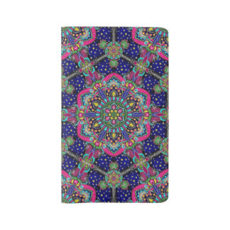 Bright colorful mandala pattern on dark blue. large moleskine notebook