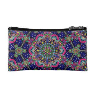 Bright colorful mandala pattern on dark blue. makeup bag