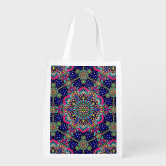 Bright colorful mandala pattern on dark blue. reusable grocery bag