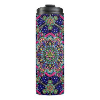 Bright colorful mandala pattern on dark blue. thermal tumbler