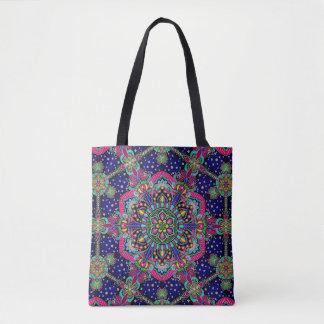 Bright colorful mandala pattern on dark blue. tote bag