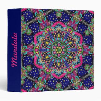 Bright colorful mandala pattern on dark blue vinyl binder