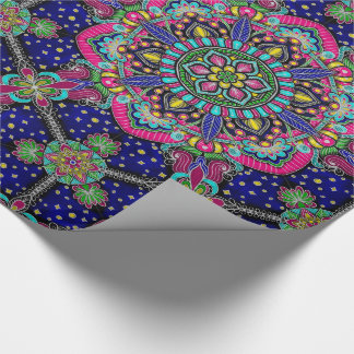 Bright colorful mandala pattern on dark blue wrapping paper