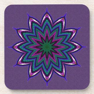 Bright Colorful Mandala Star Coasters