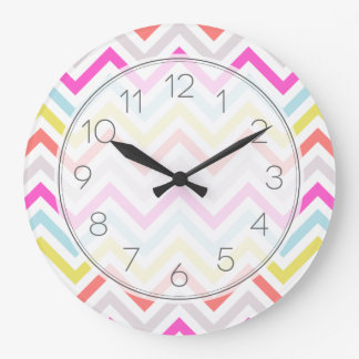 Bright Colorful Modern Chevron Stripes Large Clock