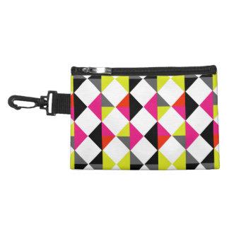 Bright Colorful Modern Geometric Diamond Pattern Accessory Bag
