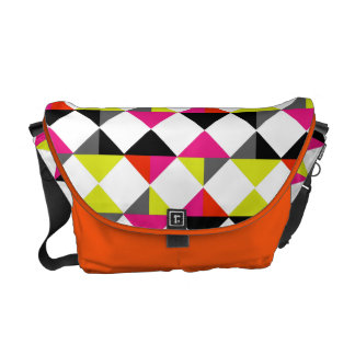 Bright Colorful Modern Geometric Diamond Pattern Commuter Bag