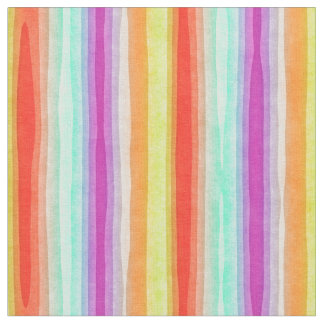 Bright Colorful Modern Watercolor Stripes Pattern Fabric