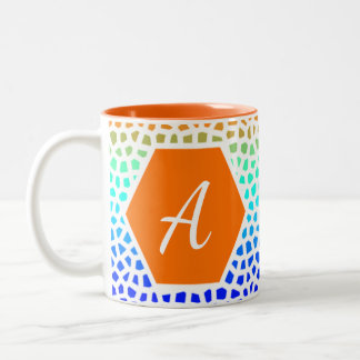 Bright Colorful Mosaic Pattern Cup With Initial