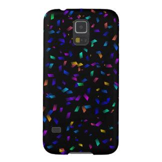 Bright colorful neon confetti on dark galaxy s5 cases