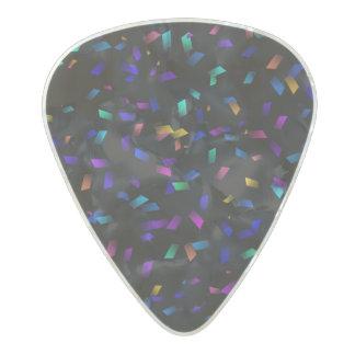 Bright colorful neon confetti on dark pearl celluloid guitar pick