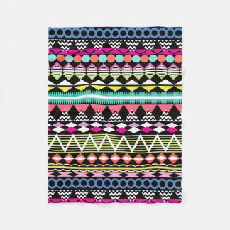 Bright Colorful Party Aztec Pattern Fleece Blanket