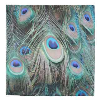 Bright Colorful Peacock Feathers Duvet Cover