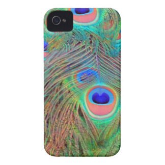 Bright Colorful Peacock Feathers iPhone 4 Covers