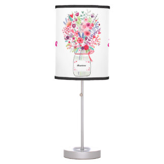 Bright Colorful Pink Floral Bouquet Nursery Decor Table Lamp