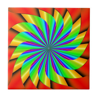 Bright Colorful Pinwheel Fractal Tile