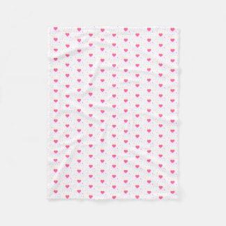 Bright Colorful Pixel Heart Gradient Pattern Fleece Blanket