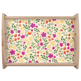 Bright Colorful Pretty Floral Pattern Serving Tray