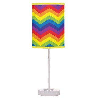 Bright Colorful Rainbow Colored Zigzag Table Lamp