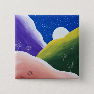 Bright Colorful Rainbow Winter Moonlight Button