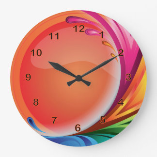 Bright Colorful Retro Abstract Large Clock