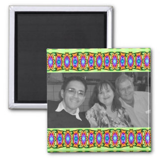 bright colorful ribbons photoframe square magnet