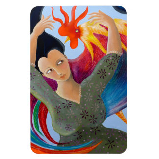 Bright Colorful Rooster and Lady. Magnet
