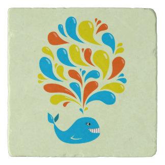 Bright Colorful Splash Happy Cartoon Whale Trivet