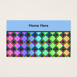 Bright Colorful Stained Glass Style Pattern. Business Card